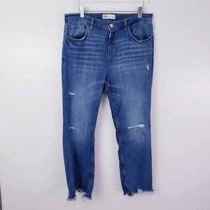 Zara Distressed Raw Hem Boyfriend Jeans Size 10